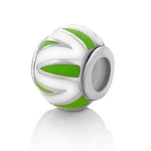 Sterling Silver Green & White Stripe Enamel Bead Charm Fits Pandora