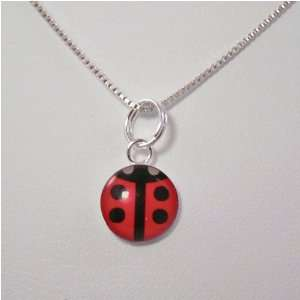 Red/Black Acrylic Pendant Sterling Silver Necklace