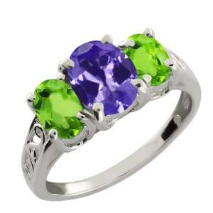 2.55 Ct Oval Blue Tanzanite and Green Peridot 18k White