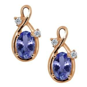 Oval Blue Tanzanite and White Diamond 18k Rose Gold Earrings Jewelry