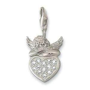 Thomas Sabo Putto on Stone Heart Charm, Sterling Silver Thomas Sabo