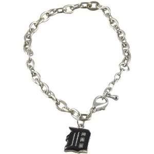 MLB Detroit Tigers Logo Silver Tone Charm Bracelet
