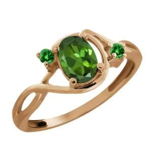 Ct Oval Green Tourmaline and Green Diamond 18k Rose Gold Ring Jewelry