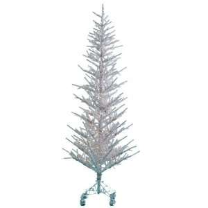 Flocked Narrow Twig Artificial Christmas Tree with Clear Lights