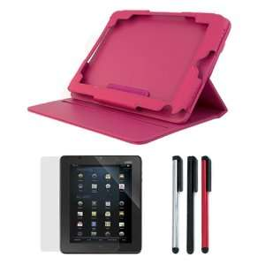 Rotating Folio Leather Cover Case with Built in Stand + Clear LCD