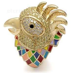 Cubic Zirconia Pave Gold Rooster Ring SZ 7 Jewelry