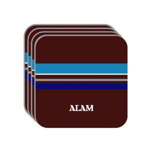 Personal Name Gift   ALAM Set of 4 Mini Mousepad Coasters (blue