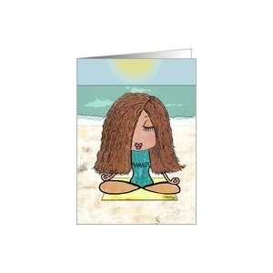 Yoga Namaste  Young Woman on Beach in Om Position Card