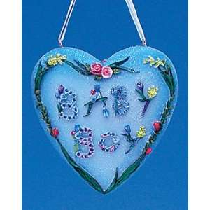 Beautiful Baby Boy Flower Heart Christmas Ornament #W1988