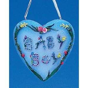 Beautiful Baby Boy Flower Heart Christmas Ornament #W1988