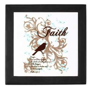 Keepsake Box Black Faith Dove   Christian Cross Dove