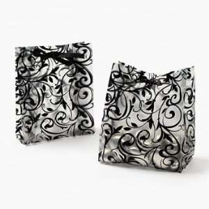 48 Plastic Frosted Black & White Wedding Favor Bags