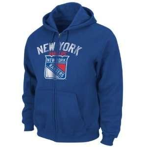 New York Rangers Blue Lasting Strength Full Zip Fleece Hooded
