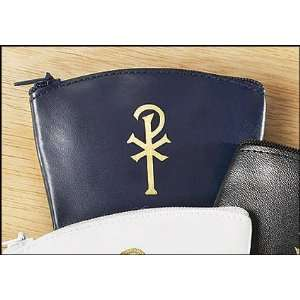 Blue Chi Rho Vinyl Rosary Case Chrisitian Womens Girls Religious Gift