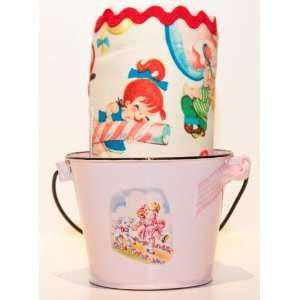 Retro Candy Kids Girl Burp Cloth & Bucket Baby