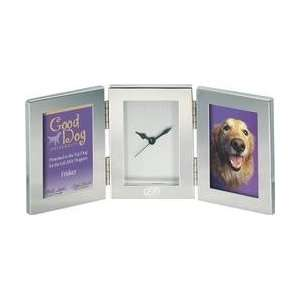 F985    Silver Double Frame with Clock