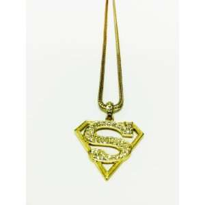 SUPERMAN GOLD ICED PENDANT & FRANCO CHAIN NECKLACE Toys