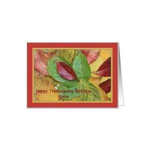 Happy Thanksgiving birthday card fall foliage niece Card