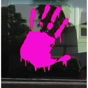 BLOODY ZOMBIE HAND PRINT(Left Hand)   5 HOT PINK   Vinyl Decal WINDOW