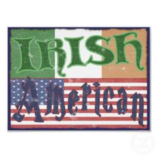 Vintage Irish, American Pride posters with flags. T shirts
