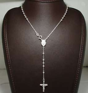 Rosary Rosario Necklace Cross Crucifix Sterling Silver