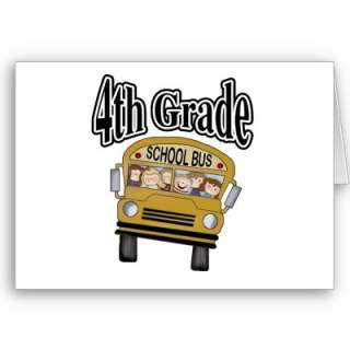 School Bus with Kids 4th Grade Cards by school_teacher