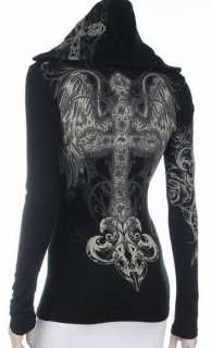 Black Hoodie T Shirt Cross Angel Wings Tattoo Rhinestones Size Large
