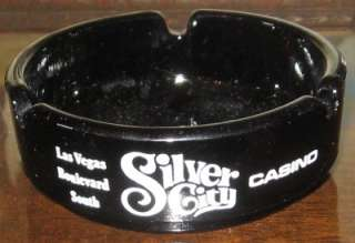 Vintage Las Vegas Ashtrays Black Glass Silver Nugget