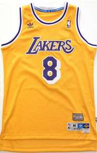 LA Lakers #8 Rookie Kobe Bryant 80s Showtime Swingman Jersey Gold