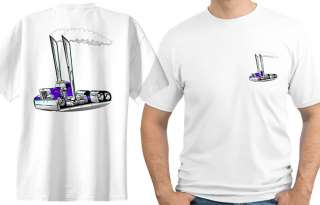 Peterbilt Semi Big Rig Truck Cartoon T shirt #1030 hauler cab
