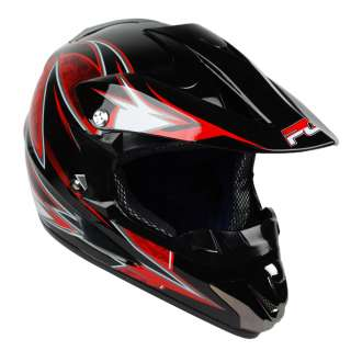 PGR DRAGON Black Red Dirt Bike Buggy ATV Off Road BMX MX DOT Helmet
