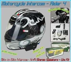 Bluetooth Motorcycle Helmet Intercom Headset 1km Dual Kit 2pc w