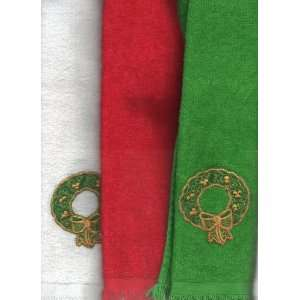 Christmas Hand Towels (White, Green with Gold Wreath / Red without