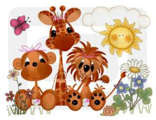 JUNGLE NURSERY BABY GIRL WALL BORDER STICKERS DECALS
