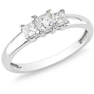 14kt White Gold 1/2ct TDW Three Stone Princess Cut Diamond Ring