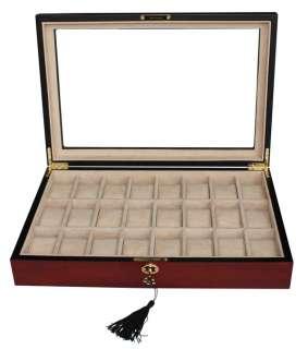 24 CHERRY WOOD ROSEWOOD WATCH DISPLAY CASE STORAGE BOX