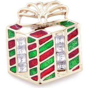 Christmas Gift Box Austrian Crystal Holiday Pin Brooch Jewelry