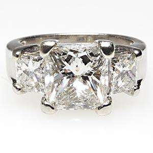 Estate Three Stone Princess Cut Diamond Engagement Ring Solid Platinum