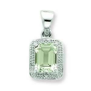 Sterling Silver Emerald Cut Green Amethyst & Diamond Pendant Jewelry