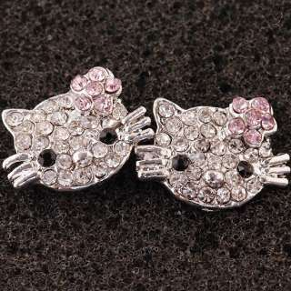 Clear Pink Crystal Hello kitty* Charms Earrings Earbob Ear Stud
