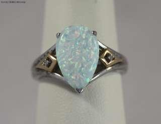 Fiery Pear Shaped Opal Diamonds 14k Gold & Silver Ring