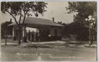 1920 era Paynesville MN Gas Station Visible Pumps RPPC