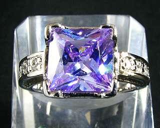 Gift Princess Purple Tanzanite White Gold GP Fashion Jewelry Lady Ring