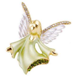 Y28069 gold plated angel 46x42mm brooch pin W 6pcs rhinestone alloy