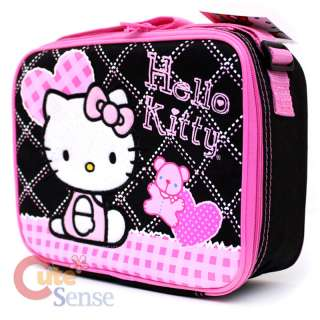 Sanrio Hello Kitty School Lunch Bag / Snack Box Love Teddy Bear Black