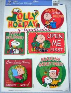 PEANUTS GANG SNOOPY CHRISTMAS WINDOW CLINGS *JOLLY* NEW
