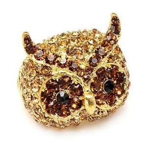Owl Animal 3D Crystal Rhinestone Stretch Ring Gold Jewelry