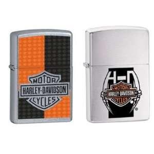 Zippo Lighter Set   Harley Davidson Orange Black Deco Logo