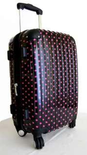Piece Luggage Set Hard Rolling 4 Wheels Spinner Travel Bag Polka
