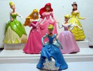 Princess Cinderella Belle Ariel Aurora Figures Lot Of 6pc Cake Topper